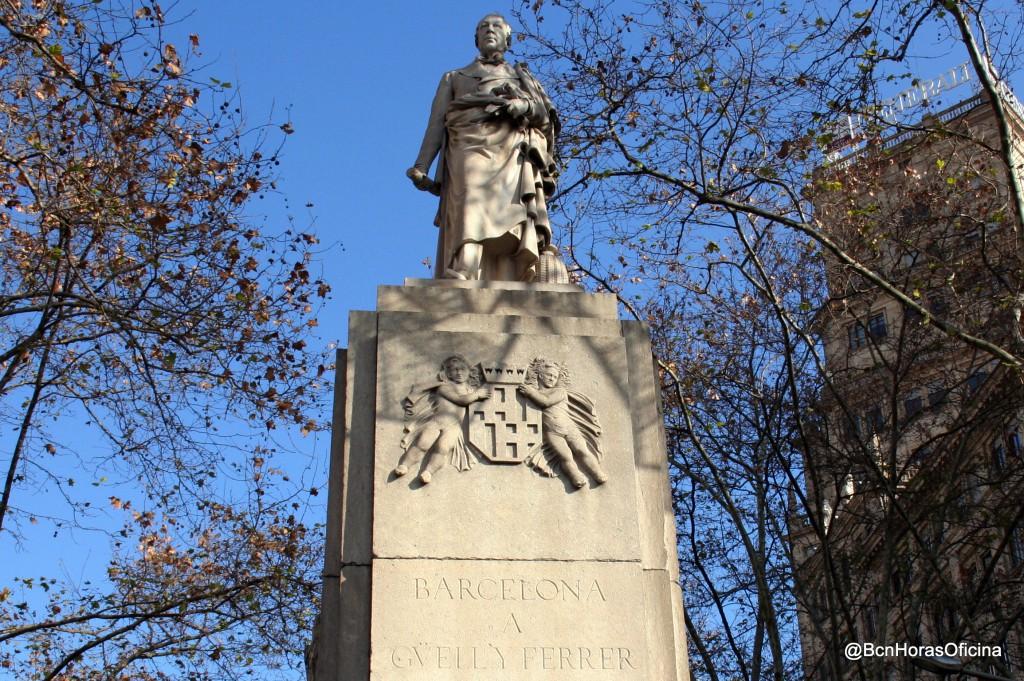 Monumento a Joan Güell i Ferrer en la Gran Via junto a Rambla Catalunya