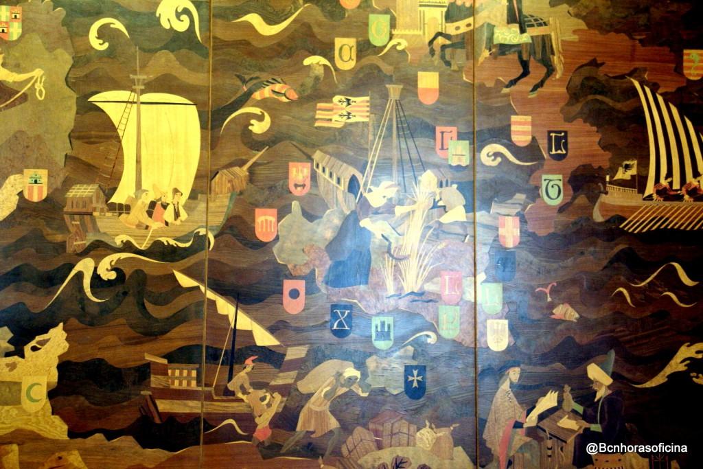 Detalle de la marquetería en la sala dedicada al Consolat del Mar