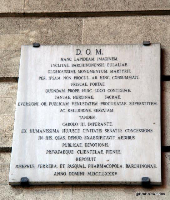 Placa dedicada a Santa Eulàlia, patrona de la ciudad