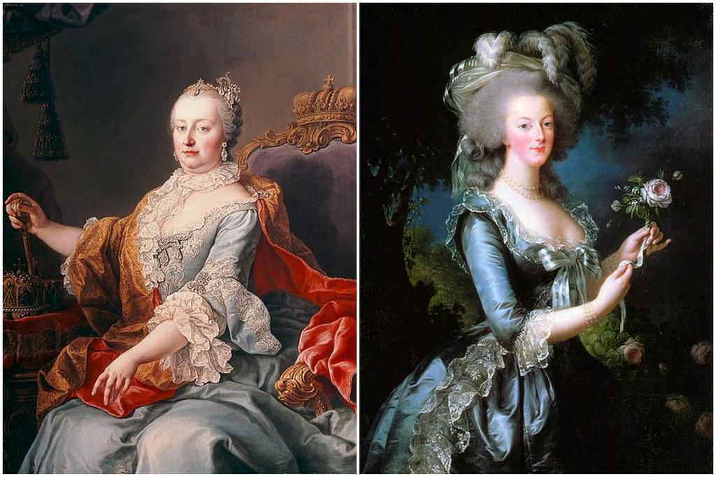 La emperatriz Maria Teresa y la reina Maria Antonieta