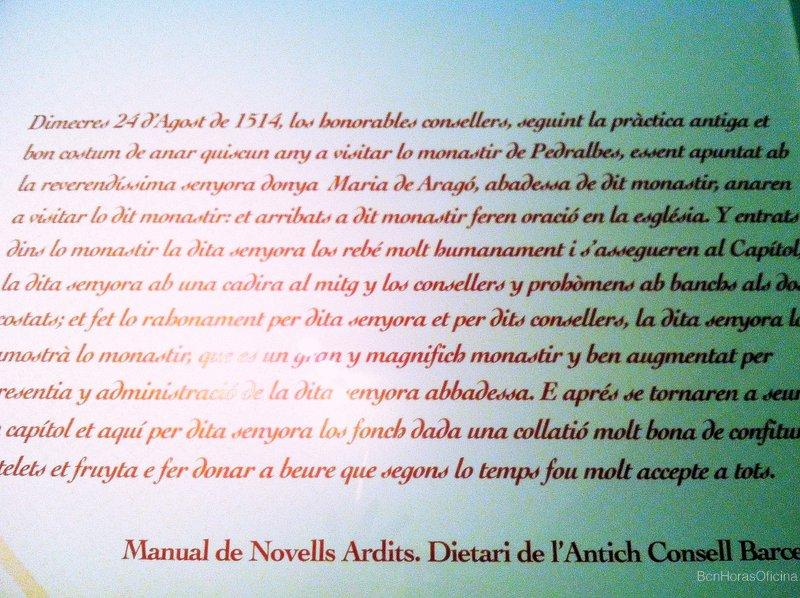 Extracto del dietario del antiguo Consejo de Barcelona