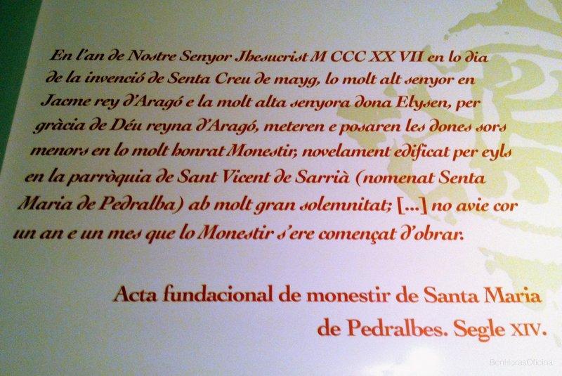 Extracto del acta fundacional del Monasterio de Santa Maria de Pedralbes