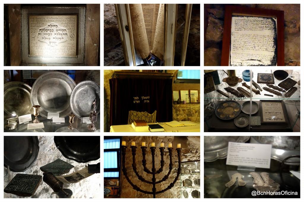 Collage de imágenes del interior de la sinagoga