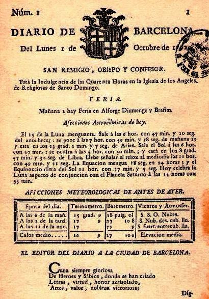 Portada del primer número. Lunes, 1 de octubre de 1792