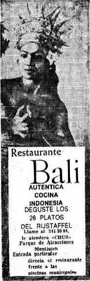 Antiguo anuncio publicitario del restaurante Bali publicado en La Vanguardia